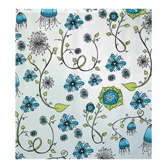 Blue Whimsical Flowers on Blue Shower Curtain 66  x 72  (Large)