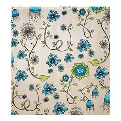 Bluewhimsical Flowers On Beige Shower Curtain 66  X 72  (large)