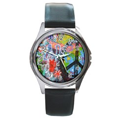 Prague Graffiti Round Leather Watch (Silver Rim)