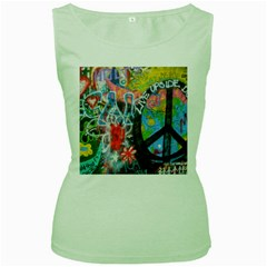 Prague Graffiti Women s Tank Top (Green)