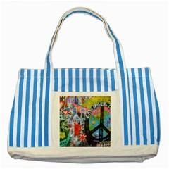 Prague Graffiti Blue Striped Tote Bag