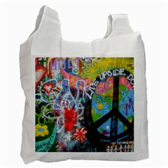 Prague Graffiti White Reusable Bag (Two Sides)