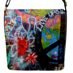 Prague Graffiti Flap Closure Messenger Bag (Small)