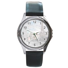 Eiffel Tower Paris Round Leather Watch (silver Rim)