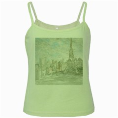 Eiffel Tower Paris Green Spaghetti Tank
