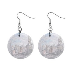 Eiffel Tower Paris Mini Button Earrings