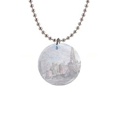 Eiffel Tower Paris Button Necklace