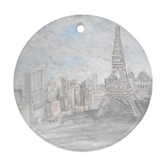 Eiffel Tower Paris Round Ornament (Two Sides)