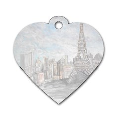 Eiffel Tower Paris Dog Tag Heart (Two Sided)