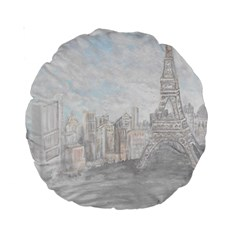 Eiffel Tower Paris 15  Premium Round Cushion