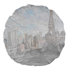 Eiffel Tower Paris 18  Premium Round Cushion