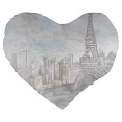 Eiffel Tower Paris 19  Premium Heart Shape Cushion