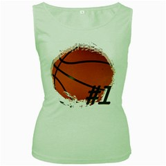 #1 Basketball  Women s Tank Top (Green)