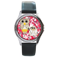 Two Owls Round Leather Watch (Silver Rim)