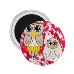 Two Owls 2.25  Button Magnet