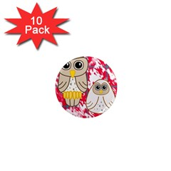 Two Owls 1  Mini Button Magnet (10 pack)