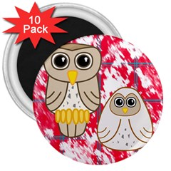 Two Owls 3  Button Magnet (10 pack)