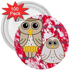 Two Owls 3  Button (100 pack)