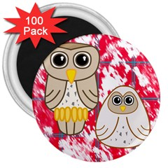 Two Owls 3  Button Magnet (100 Pack)