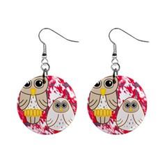 Two Owls Mini Button Earrings