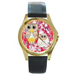Two Owls Round Leather Watch (gold Rim)