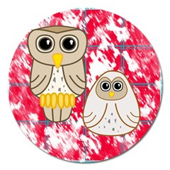 Two Owls Magnet 5  (Round)