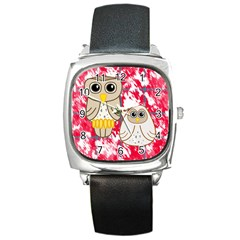Two Owls Square Leather Watch