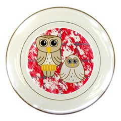 Two Owls Porcelain Display Plate