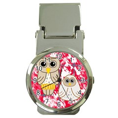 Two Owls Money Clip with Watch