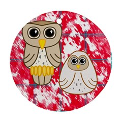 Two Owls Round Ornament (Two Sides)