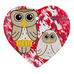 Two Owls Heart Ornament (Two Sides)