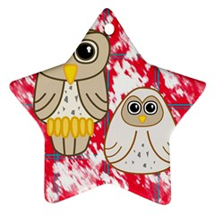 Two Owls Star Ornament (two Sides)