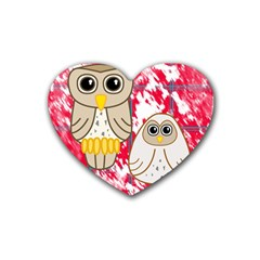 Two Owls Drink Coasters 4 Pack (heart)