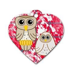 Two Owls Dog Tag Heart (Two Sided)