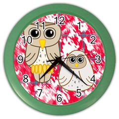 Two Owls Wall Clock (Color)