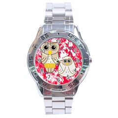 Two Owls Stainless Steel Watch