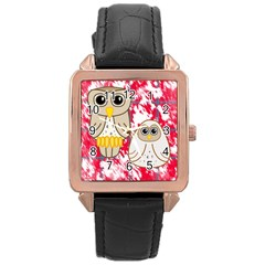 Two Owls Rose Gold Leather Watch