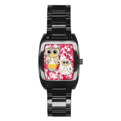 Two Owls Stainless Steel Barrel Watch