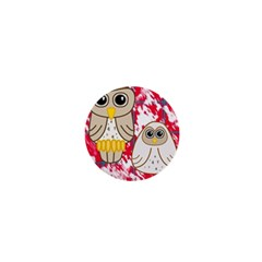 Two Owls 1  Mini Button Magnet