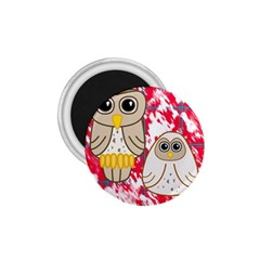 Two Owls 1.75  Button Magnet