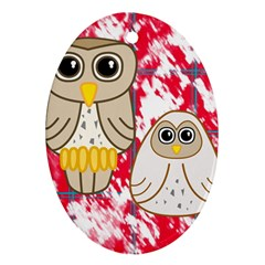 Two Owls Oval Ornament