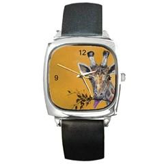 Giraffe Art Watch Square Leather Watch