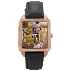 Jh Rose Gold Leather Watch