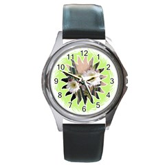20131123 3 Round Leather Watch (Silver Rim)