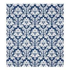 Damask Pattern White Dark Blue Shower Curtain 66  X 72  (large)