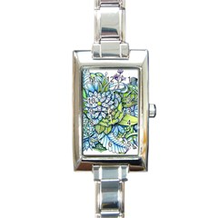 Peaceful Flower Garden Rectangular Italian Charm Watch