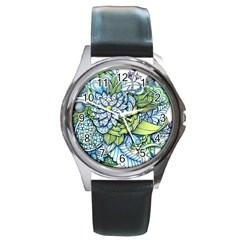 Peaceful Flower Garden Round Leather Watch (Silver Rim)