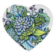 Peaceful Flower Garden Heart Ornament