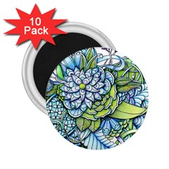 Peaceful Flower Garden 2 25  Button Magnet (10 Pack)