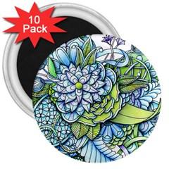 Peaceful Flower Garden 3  Button Magnet (10 Pack)